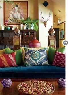 Love the eclectic mix of global influences in this living room!