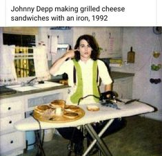Johnny Depp making grilled cheese sandwiches with an iron, 1992...