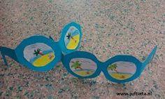 Een leuk lente/zomer ideetje.  Wat je nodig hebt is vooral :  - gekleurd papier  - en een eigen tekening naar keuze.  je maakt als verzorgende zelf een zonnebril en de kindjes mogen dan hun eigen tekening maken / kleuren / plakken.  Er wordt vooral de fijne motoriek gestimuleerd en het waarnemen ook wel gedeeltelijk.
