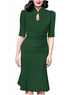 Viwenni Women's Sexy 3/4 Sleeve Bodycon Wedding Fromal Fishtail skirt Partry Dress(L,Green)