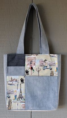 Traveler Inspired Denim and Fabric Patch Front Pocket Tote, Multi-Colored Cotton Lining, Invisible Magnetic Closure -Resultado de imagen de Sew tote bag from recycled denim and upholstery Patchwork Jeans, Denim Quilts, Patchwork Quilting, Patchwork Patterns, Denim Tote Bags, Denim Crafts, Fabric Patch, Recycled Denim, Quilted Bag
