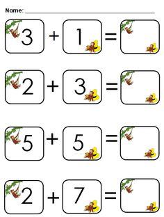 Aloha Kindergarten! Cute addition worksheet.