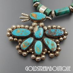 """NATIVE AMERICAN PATRICIA PLATERO NAVAJO STERLING SILVER TURQUOISE THUNDERBIRD BEADED NECKLACE 25"""""""