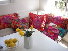 Breakfast Nook of Customer in CA. Pillows & place mats found at www.frescofabrics.com