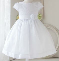 BAPTISM WEDDING BRIDAL CHURCH RARE EDITIONS NEW GIRLS WHITE DRESS WITH SATIN