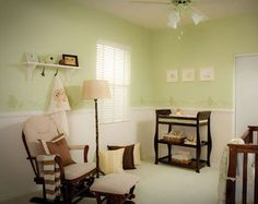 love that shade of green for a future boys nursery (esp. with the dark brown and white/cream)