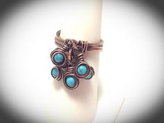 Triple band copper wire wrapped ring with turquoise dangles by JCLwire on Etsy