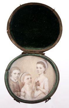 Hand painted portrait miniature on ivory. Circa 1760.