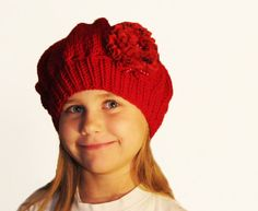 Handknit beret for girl  red hat for toddler girl by iziknittings, $29.00