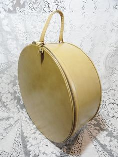 Vintage Luggage Hat Box Yellow Suitcase by bluebonnetfields, $69.00