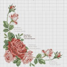This Pin was discovered by sul Beaded Cross Stitch, Cross Stitch Borders, Cross Stitch Rose, Cross Stitch Flowers, Cross Stitch Charts, Cross Stitch Designs, Cross Stitching, Cross Stitch Patterns, Diy Embroidery