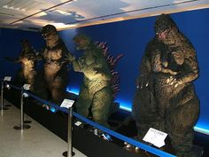 Godzilla Suits on DIsplay - Godzilla 2014 Gallery Left to Right: Tokyo S.S (Millennium), GMK (Millennium), Godzilla 2000 (Millennium), and Heisei era Godzilla. --In honor of having seen and been slightly disappointed by the latest film King Kong, Godzilla Suit, Old Posters, Japanese Monster, Classic Monsters, Creature Feature, Funny Art, Tokyo, Nerd