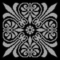 Blackwork, Cross Stitch Designs, Cross Stitch Patterns, Lace Patterns, Crochet Patterns, Filet Crochet Charts, Monochrome Pattern, Cross Stitch Pillow, Mittens Pattern