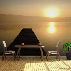 Fototapeta XXL - pomost, jezioro, zachód słońca... Decorami.pl