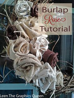 DIY Burlap Rose Wreath                                                                                                                                                                                 More