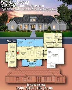 Plan Split Bedroom Modern Farmhouse Plan with Vaulted Great Room Change kitchen. Lose Pantry, shorten island, add baking station with double oven. Add two feet to each bedroom, and a separate studio. Country House Plans, New House Plans, Dream House Plans, Dream Houses, Home Floor Plans, The Plan, How To Plan, Future House, Modern Farmhouse Plans