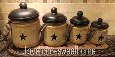 Primitive Crackle Tan & Black Star Ceramic Canisters Set of 4  Country Decor #NaivePrimitive