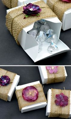 Burlap & Floral Rustic DIY Gift Boxes - 13 Icy DIY Winter Wedding Decorations | GleamItUp