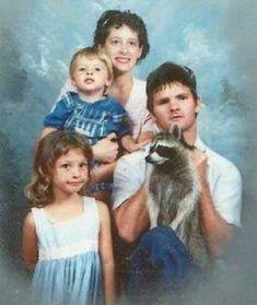 awkward family portrait with raccoon.