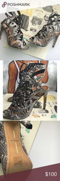 Dolce Vita Helena Open Toe Heel Cutouts and grommets accentuate the edgy feel of snakeskin Dolce Vita sandals. Lace-up closure. Covered heel and rubber sole.  Leather: Snakeskin.   Measurements Heel: 4in / 100mm Dolce Vita Shoes Heels