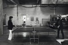 Bob Dylan playing table tennis with Levon Helm.