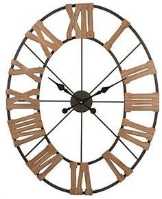 """38"""" x 30"""" Oval Metal & Wood Roman Numeral Clock"""