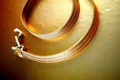 Classy vintage 80s gold tone metal mesh choker collar  by VezaVe