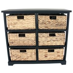 Organize changing supplies and clothes in your nursery or keep media handy in the den with this versatile six-basket shelf set. A simple, classic black wood frame provides six cubbyholes just right for the included woven baskets.