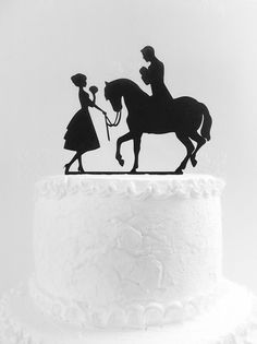 Wedding cake topper silhouette Family cake topper Bride and