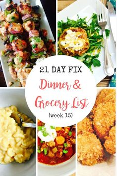 Make meal planning easy with this 21 Day Fix Dinner Plan and Grocery List! All recipes have container counts for the FIX!