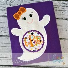 (10) Name: 'Embroidery : Ghost Girl Monogram Applique 4 sizes