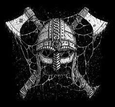 Viking helmet and axes t-shirt design. Viking helmet and axes Helm Tattoo, Norse Tattoo, Viking Tattoos, Viking Helmet, Viking Warrior, Machado Viking, Helmet Drawing, Templer, Viking Art