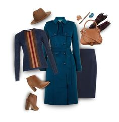 """""""Teal coat styled for Fall"""" by muse-charming ❤ liked on Polyvore featuring Trilogy, Faliero Sarti, Raoul, Hobbs, Marco de Vincenzo, Chloé, Ted Baker, Brooks Brothers, Stila and Laura Mercier"""