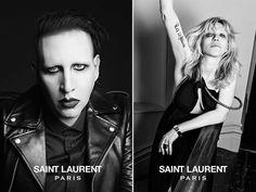 A Saint Laurent Paris também usou dois ícones opostos ao perfil da grife, na campanha da coleção. Marilyn Manson cantor gótico polêmico e conhecido pelas bizarrices que faz, e Courtney Love, a ex do Kurt Cobain (maior ícone do grunge). Há rumores de que ela está envolvida na morte de Kurt.