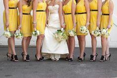yellow bridesmaids dresses! love.