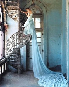Lily Cole | Tim Walker Photography | Blue Long Train Dress | Spiral Staircase