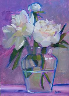 "'Peonies Three' - 5""x7"" original oil painting for sale by artist Maryann Lucas"