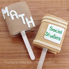 Rice Krispies Treat School Books using caramel or root beer flavored modeling chocolate. by Hungry Happenings