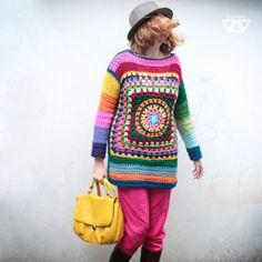 retro boho sweater colorful rainbow women crochet by diEnes Moda Crochet, Pull Crochet, Hippie Crochet, Crochet Granny, Hand Crochet, Crochet Tops, Crochet Bolero, Crochet Shirt, Crochet Jacket