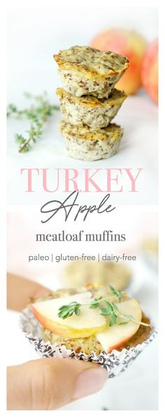 These mini paleo and gluten-free turkey apple meatloaf muffins make the perfect protein and iron-ric Baby Food Recipes, Snack Recipes, Yummy Snacks, Paleo Recipes, Healthy Protein Snacks, High Protein, Healthy Food, Meatloaf Muffins, Iron Rich Foods
