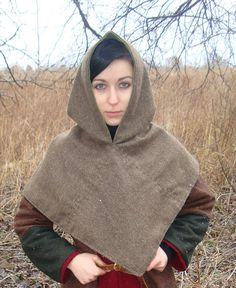 Wool hood from SlavMedievalShop.  Wool instead of leather, but it looks cool.