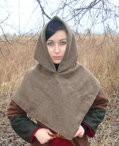 Wool hood from SlavMedievalShop.  Wool instead of leather, but it looks cool.