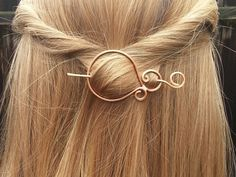 This minimalist hair barrette is hand-formed and hammered by me for extra strength, texture and shine. It has been sealed with wax to help sustain color. The barrette is about 2-1/4 inches long and the pin is about 3.5 inches long and can be worn as a shawl pin or a scarf pin as well.