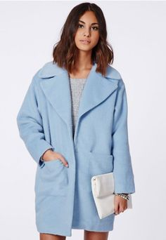 Lena Cocoon Coat Powder Blue - Coats And Jackets - Missguided