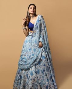 Dress Indian Style, Indian Fashion Dresses, Indian Outfits, Indian Clothes, Indian Wear, Floral Lehenga, Blue Lehenga, Lehenga Skirt, Samantha In Saree