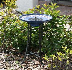 Mosaic Ceramic Solar Birdbath with Metal Stand | Water Fountains