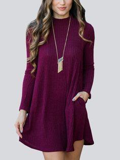 87cc42efffa Solid Color Mock Neck Long Sleeve Pockets Dress