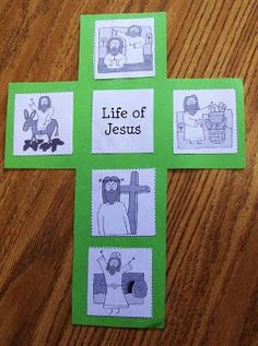 Easter: Life of Jesus Cross This invites so many questions. For example, why does Jesus have such tiny hook hands? Why is he dancing to the BeeGees on that donkey? Why is he looking at the crown of thorns like he doesn't remember how it got there? Preschool Bible, Bible Activities, Preschool Crafts, Easter Crafts, Fun Crafts, Preschool Programs, Preschool Printables, Sunday School Projects, Sunday School Activities