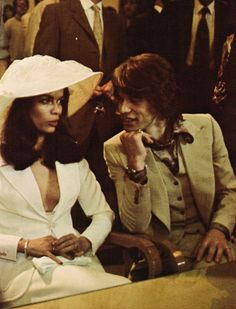 Mick Jagger & Bianca Jagger on their wedding day, 1971