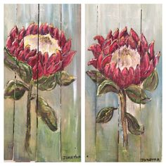 Proteas on pallets By Joretha Louw Protea Art, Protea Flower, Art Flowers, Flower Art, Decoupage Art, Diy Art Projects, Palette Knife, Garden Crafts, Rock Painting